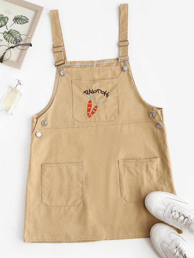Patched Pocket Carrot Embroidery Pinafore Dress - Light Coffee