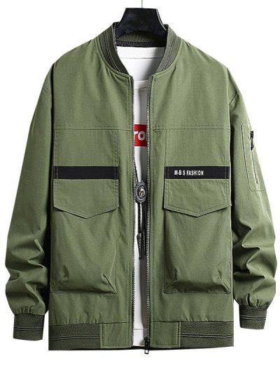 Letter Print Double Pockets Jacket - Army Green Xs