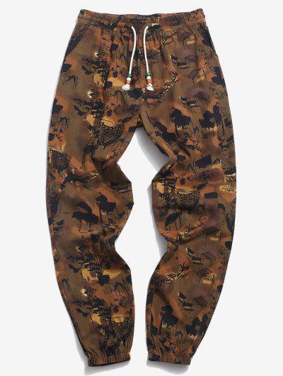 Pantaloni Di ZAFUL Con Stampa Pittura A Inchiostro - Colore Di Caffè Scuro  L