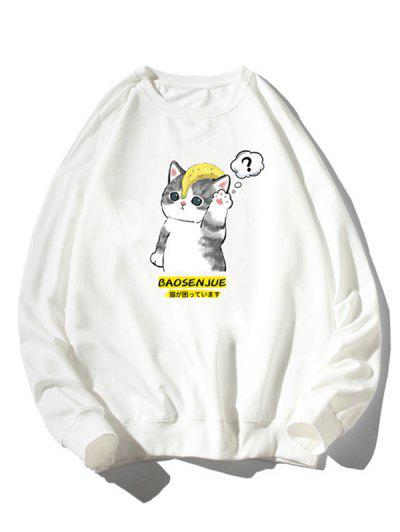 Camisola Moletom Zíper De Malha Com Impressão Gráfica De Gato Dos Desenhos Animados - Branco M