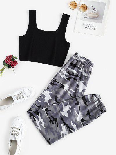 Two Piece Ribbed Camo Sweatpants Set - Dark Gray Xl