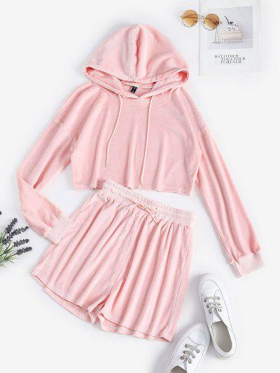 Fluffy Cropped Lounge Two Piece Set - Light Pink L