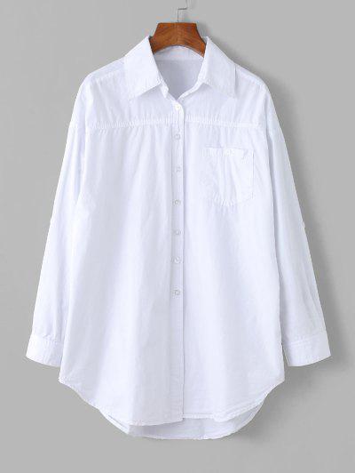 Button Down Front Pocket Long Shirt - White L