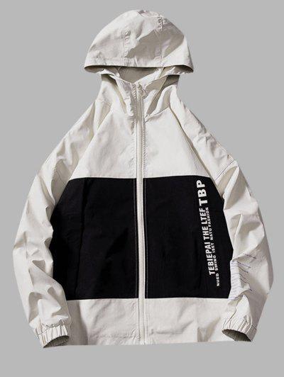 Two Tone Letter Text Drop Shoulder Hooded Jacket - Beige L