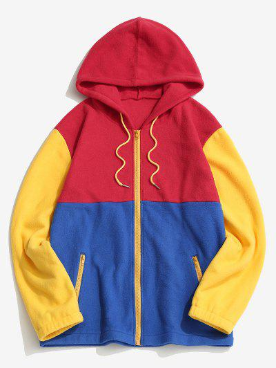 Colorblock Panel Fleece Hooded Jacket - Red M