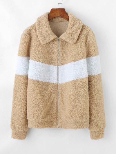 ZAFUL Two Tone Zip Up Teddy Coat - Burlywood S