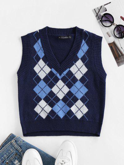 ZAFUL Argyle V Neck Ribbed Trim Sweater Vest - Albastru Inchis M