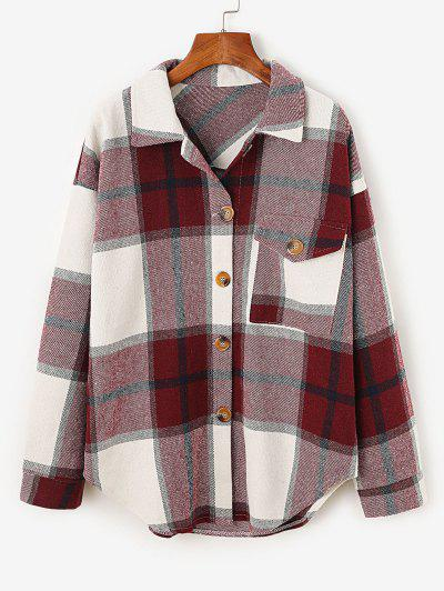 Plaid Drop Shoulder Pocket Coat - Deep Red M