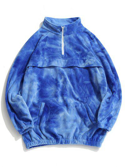 Tie Dye Half Zipper Raglan Sleeve Fleece Sweatshirt - Blue L