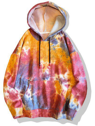 Tie Dye Print Drop Shoulder Hoodie - Red 3xl