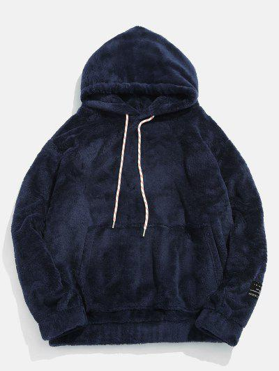 Solid Pouch Pocket Fluffy Hoodie - Marble Blue Xs