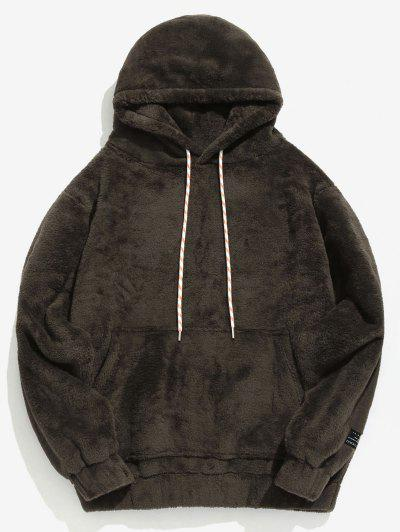 Solid Pouch Pocket Fluffy Hoodie - Taupe Xs