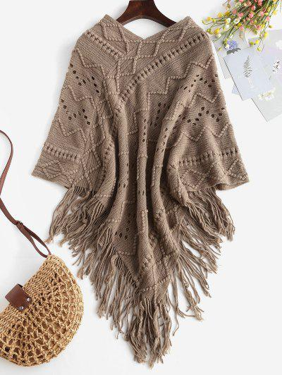 Fringed Pointelle Open Knit Poncho Sweater - Light Coffee