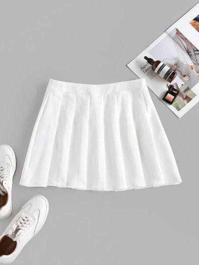 ZAFUL High Waist Pleated Mini Skirt - White L