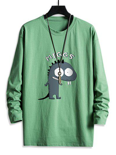 Cute Dinosaur Graphic Leisure Crew Neck T Shirt - Deep Green L