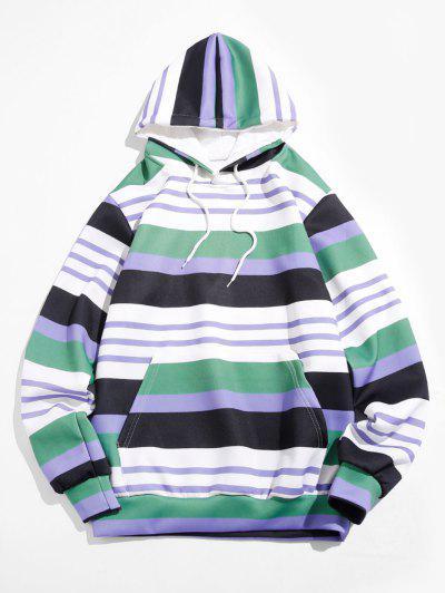 Striped Print Front Pocket Hoodie - Medium Sea Green M