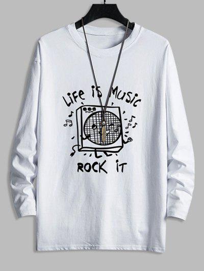 T-shirt Décontracté Graphique Boîte à Musique Imprimée à Goutte Epaule - Blanc M