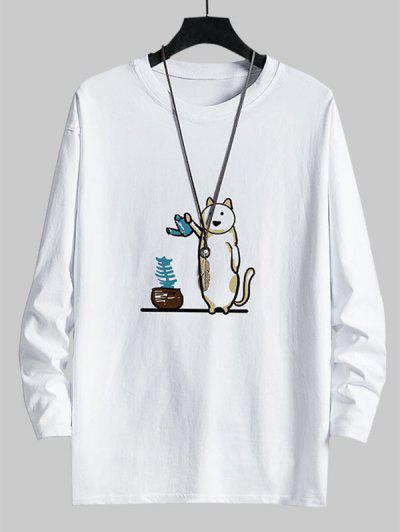 T-shirt Décontracté Graphique Chat Amusant à Col Rond - Blanc M