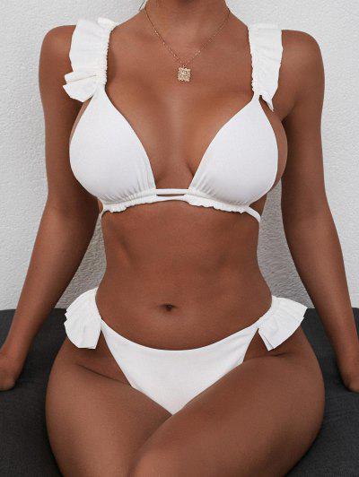 ZAFUL Ribbed Ruffle Criss Cross Tanga Bikini Swimwear - White M