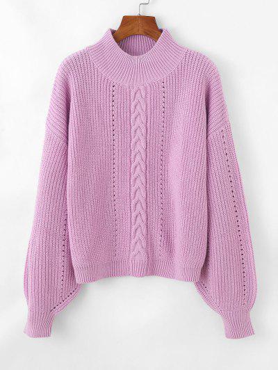 Cable Pointelle Knit Drop Shoulder Sweater - Light Purple