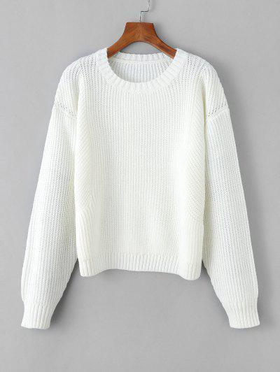 Chunky Knit Drop Shoulder Plain Sweater - White