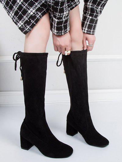 Plain Chunky Heel Tie Back Knee High Boots - Black Eu 40