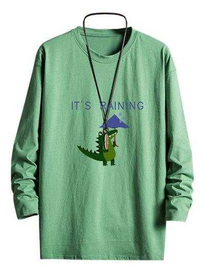 Camiseta Camo De Manga Comprida Estampa Geometrica - Verde Profundo Xs