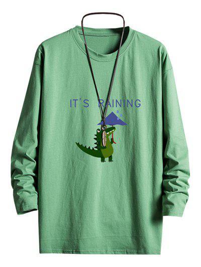 Rainy Dinosaur Graphic Drop Shoulder Long Sleeve T Shirt - Deep Green S