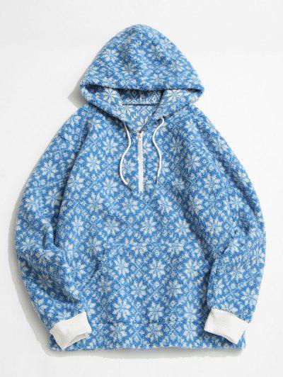 Tie Dye Snowflake Pattern Teddy Hoodie - Light Blue Xl