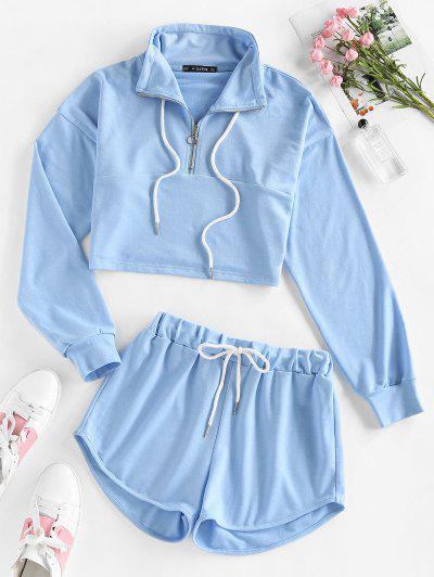 ZAFUL Drop Shoulder Half Zip Drawstring Shorts Set - Light Blue S