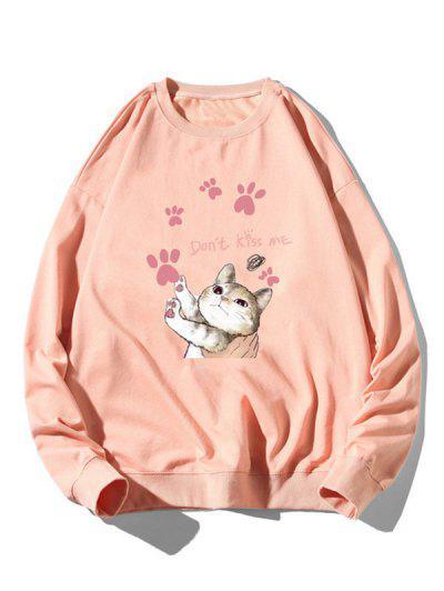 Cartoon Cat Print Rib-knit Trim Cute Sweatshirt - Light Pink 2xl