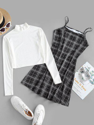 Ribbed High Neck T-shirt And Plaid Cami Dress Set - Black M