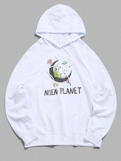 Känguru Tasche Planet Tunnelzug Hoodie - Weiß M