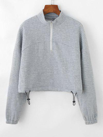 ZAFUL Textured Half Zip Drop Shoulder Sweatshirt - Light Gray M
