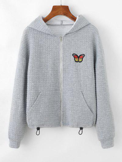 ZAFUL Textured Butterfly Applique Drop Shoulder Zipper Hoodie - Light Gray S
