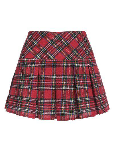 ZAFUL Plaid Pleated Mini Skirt - Red S
