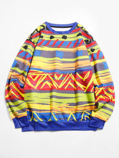 Colorful Brush Stroke Print Lounge Crew Neck Sweatshirt - Silk Blue L