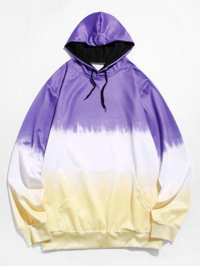 Dip Dye Front Pocket Drawstring Hoodie - Purple Xs