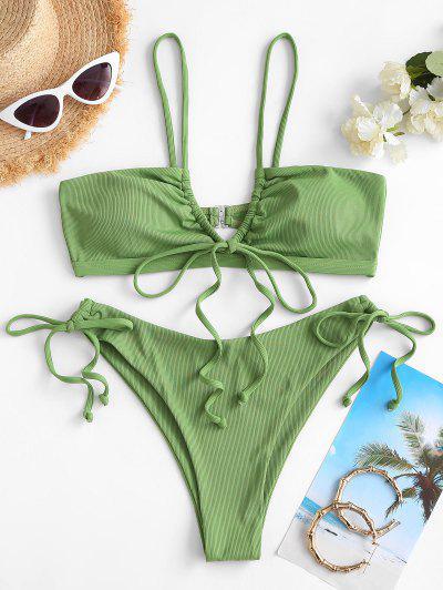 ZAFUL Ribbed Drawstring String Bikini Swimwear - Green S