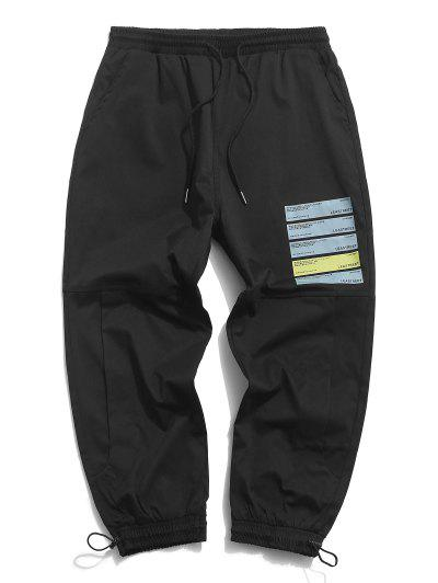 Text Graphic Print Cropped Casual Pants - Black Xl