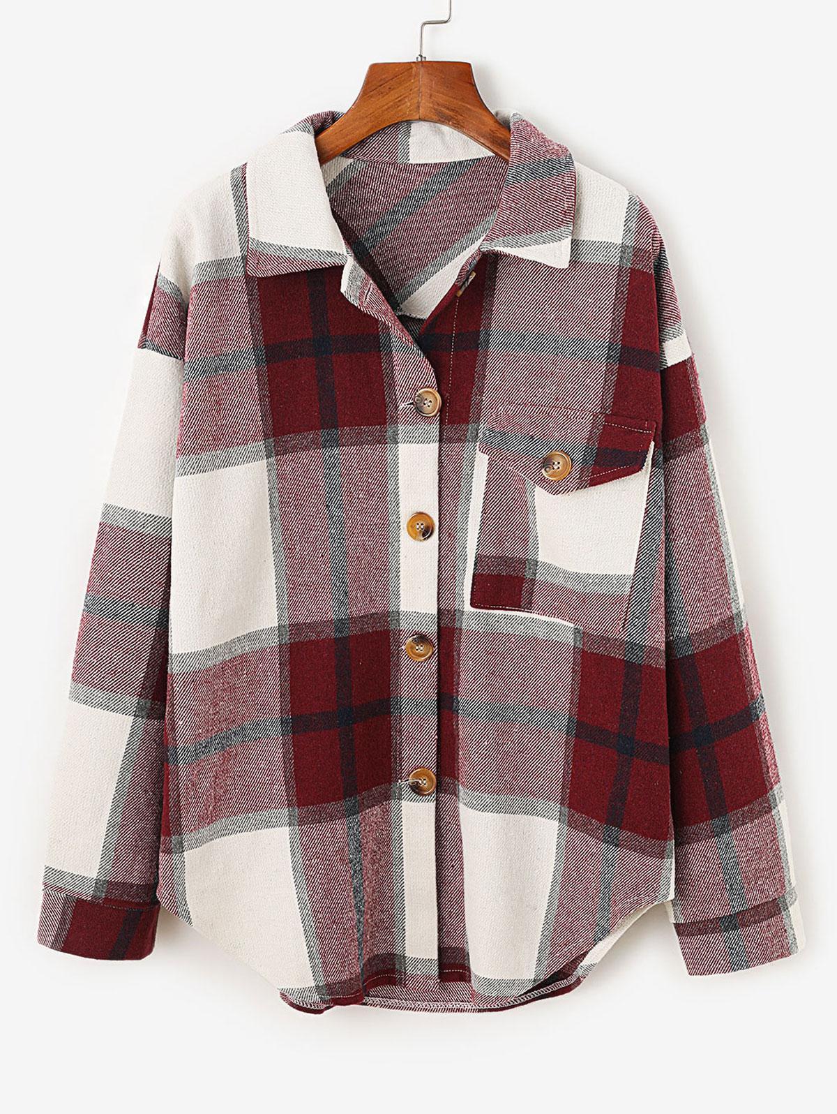 Plaid Drop Shoulder Pocket Coat