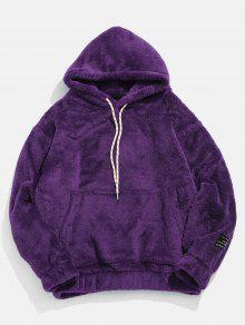 جيب الحقيبة الصلبة هوديي رقيق - أرجواني L
