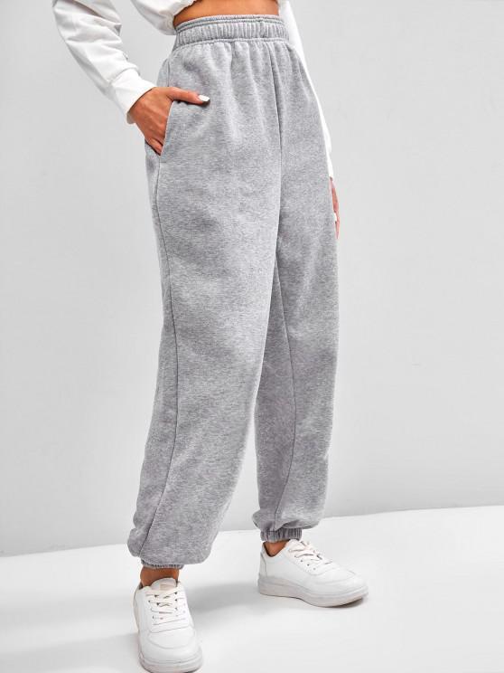 affordable Fleece Lined Pocket Beam Feet High Rise Pants - LIGHT GRAY S