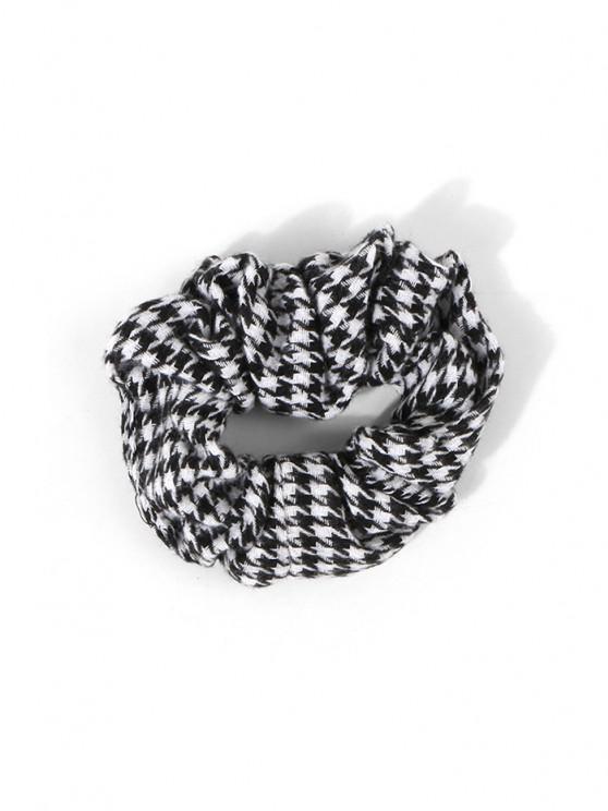 Houndstooth Print Woolen Scrunchie - أسود