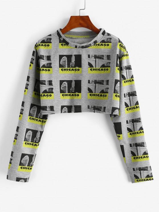 Cropped CHICAGO Graphic Sweatshirt - الرمادي الداكن XL