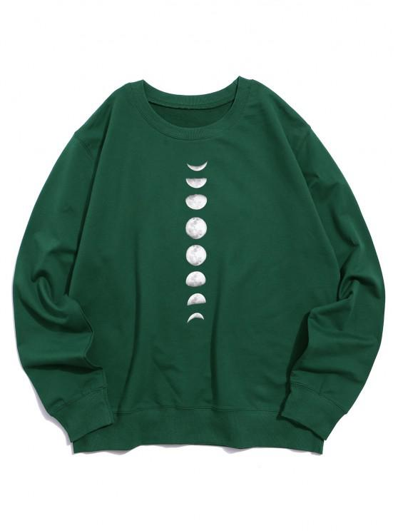 chic Moon Graphic Casual Crew Neck Sweatshirt - DEEP GREEN XS