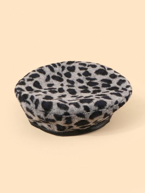 ladies Leopard Printed Flat Beret Hat - LIGHT GRAY