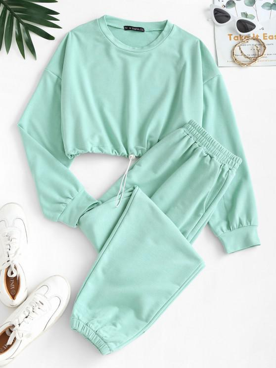 online Crop Sweatshirt and Joggers Co Ord - GREEN S