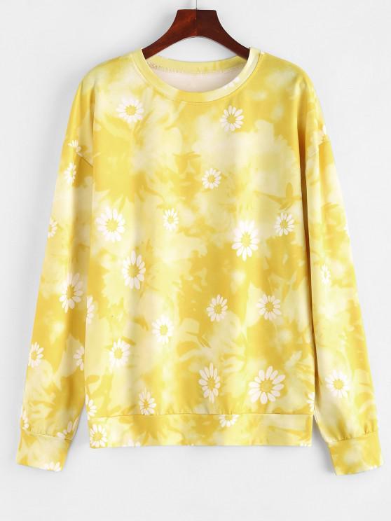shop Loose Floral Tie Dye Sweatshirt - YELLOW M