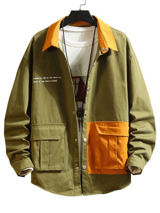 lady Two Tone Flap Pockets Drop Shoulder Jacket - ARMY GREEN 2XL